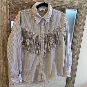 Zara fringe & striped button up shirt sz XXL
